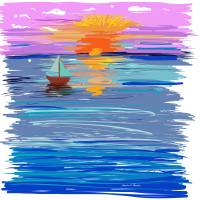 Sailing into the Sunset Art Prints & Posters by Angela Stanton