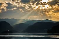 Angel rays over Lake Bled
