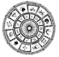 Astrological chart with zodiac symbols