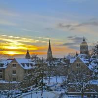 """Winter Sunset at Notre Dame"" by matthewkudija"