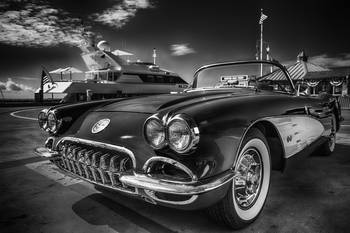 Black White Photography Corvette Chevrolet Car By Dapixara Art