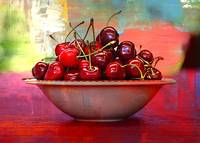 Cherries on the Table with Textures by Carol Groenen
