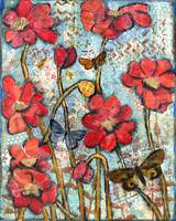 butterfly brahms, red poppy art