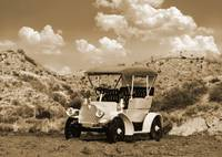 Antique Auto  in Texas Canyon - sepia