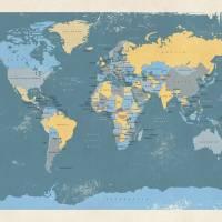 """Retro Political Map of the World"" by ModernArtPrints"