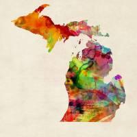 """Michigan Watercolor Map"" by ModernArtPrints"