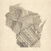 """Old Sheet Music Map of Wisconsin"" by ModernArtPrints"