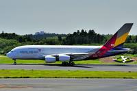 1st Asiana A380 at Narita TO Run