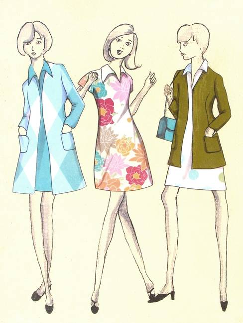 Sewing Pattern Artwork - 1 by Rachael Edmonds