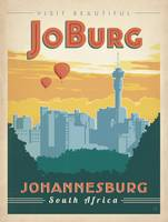 Johannesburg, South Africa - Retro Travel Poster