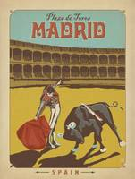 Plaza de Tores, Madrid, Spain Retro Travel Poster