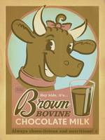 Brown Bovine Chocolate Milk Retro Poster
