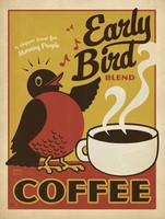 Early Bird Blend Coffee Retro Poster