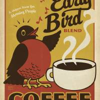"""""""Early Bird Blend Coffee - Retro Poster"""" by artlicensing"""