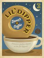 Lil' Dipper Donuts and Coffee - Retro Poster