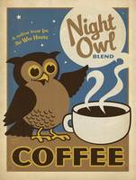 Night Owl Blend Coffee Retro Poster
