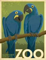 Support Our Local Zoo Hyacinth Macaws Retro Poster