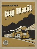 Travel by Rail - Retro Travel Poster