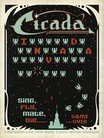 Cicada Invada - retro video game poster