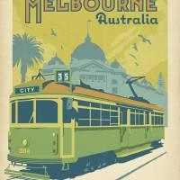"""Melbourne, Australia Retro Travel Poster"" by artlicensing"
