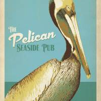 """The Pelican Seaside Pub Retro Poster"" by artlicensing"