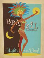 Carnaval, Brazil - Retro Travel Poster