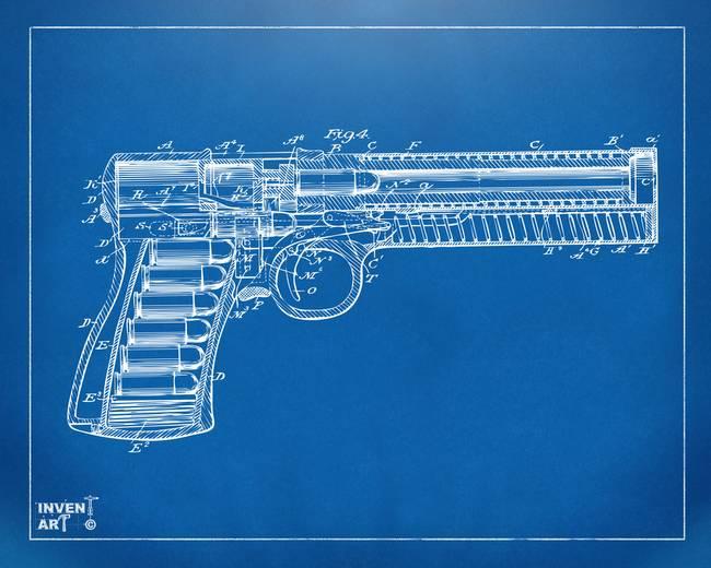 Stunning gun patent artwork for sale on fine art prints 1903 mcclean pistol patent minimal blueprint by nikkismith malvernweather Choice Image