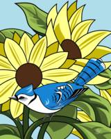 Sunflowers and BlueJay