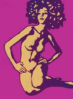 Etching style nude pop art  poster