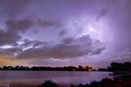 Cloud to Cloud Lake Lightning Strike