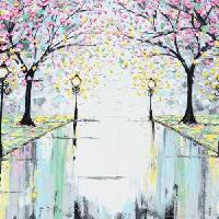 """""Reflections of Springtime"" Pink Cherry Trees"" by ChristineKrainock"
