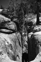 Rock between fissure at Taft Point (B/W)