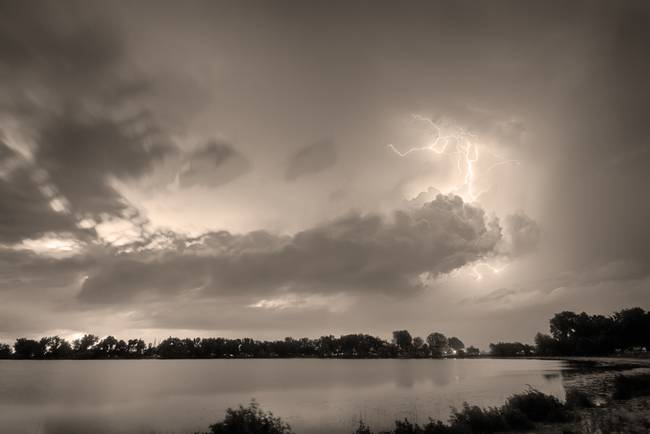 Summer Storm in Black and White Sepia