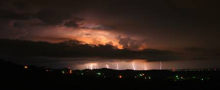 Stacked Lightning Panorama