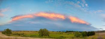 Sunset Moon Storm Longmont to Boulder CO Panorama