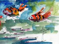 Clown Fish Oceans Watercolor Painting