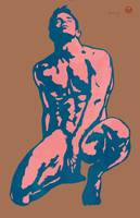 gay etching style nude pop art  poster