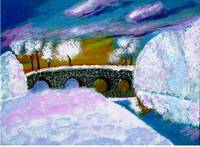 Castlecomer fishing lakes in snow painting
