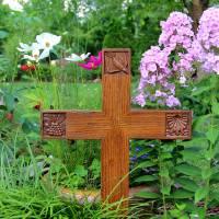 Cross in Garden by George Wood by Karen Adams