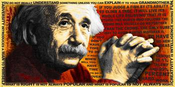 Albert Einstein and Quotes Gold and Red