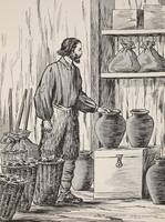 Robinson Crusoe in his storeroom