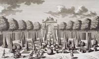 A parterre with orange trees in the garden of the