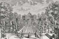 Setting for an opera in a garden, from 'Architectu