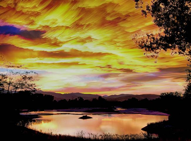 Sunset Over a Country Pond