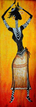Abstract painting of a dancing Tribal Woman