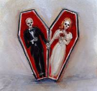 Coffin Love Skeletons Holding Hands by Nero Corvo