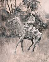 Signal! Drawing of Cowhunter and horse by Violano