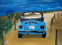 Blue VW bug at beach