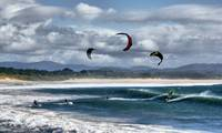 Kitesurfing on beach