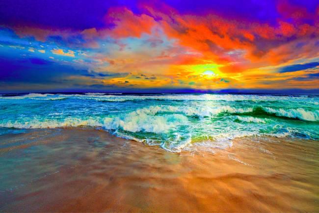 """beautiful ocean sunset art prints"" by eszra, 2014"